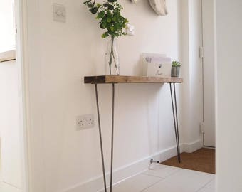 Narrow console table with hairpin legs, wooden rustic hallway table.