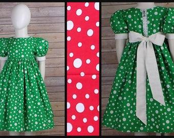 Girls Polka Dot Dress, Red, Green, Christmas Dress, Short Sleeves, Lace, Zipper, Custom, Boutique, Fancy, Big Girls, Baby, Toddler, Teen