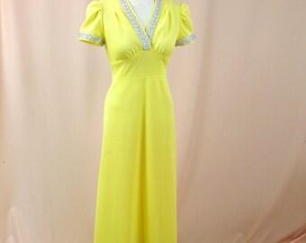 60s Maxi Dress * Lemon Yellow Maxi Dress * 1960s Dress * Yellow Dress * Evening Gown * Empire Waist Dress * Boho Dress