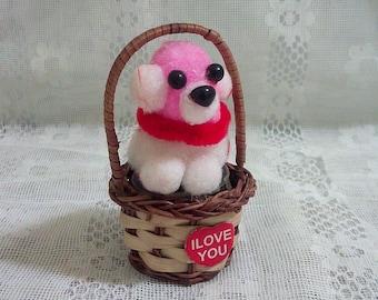 Dog stuffed animal miniature fluffy white  plush play set tiny toy
