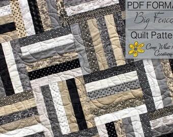 Big Fences Pattern, Lap Quilt Pattern, Beginner Quilt Pattern, Baby Quilt Pattern, Jelly Roll Pattern, Basic Pattern, Strip Quilt Pattern