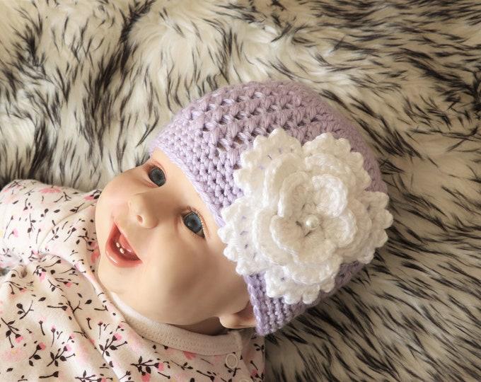 Purple Baby Hat - Baby girl hat - Baby beanie - Crochet Baby hat - Flower Hat - Newborn Girl Hat  - Baby Girl Beanie - Baby Girl Clothes