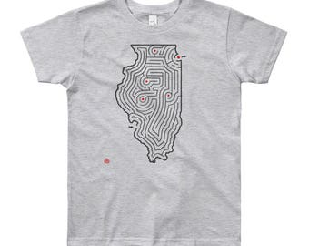 Youth Illinois Map Maze Short Sleeve T-Shirt | Chicago/Springfield/Champaign/Peoria (Grey, White, Blue or Pink)