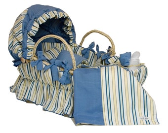 Bedding ONLY for Moses Basket with Hood -Blue Cabana Stripe