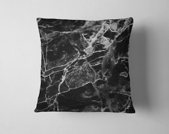 Black marble throw pillow