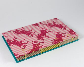 A5 Pink Blue Striped Unicorn Handbound Hardcover Coptic Journal Sketchbook Notebook - dotted writing paper