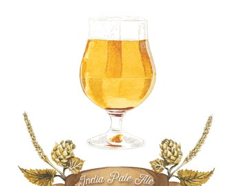 IPA-Craft Beer-Aquarell-Illustration