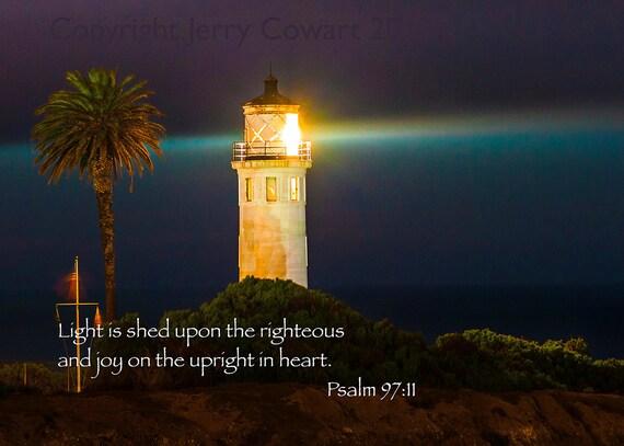 Items similar to Bible Verse Scripture Night Lighthouse ...
