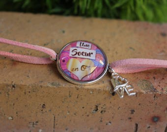 """""""A sister in 0r"""" cabochon pink suede strap"""
