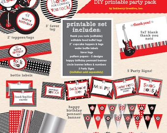 Little Rockstar Boy Birthday Party (Red) - DIY/Printable Complete Party Pack - INSTANT DOWNLOAD!