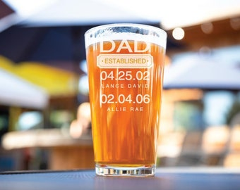 Father's Day Gift, Gift For Dad, Dad Established Glass, Gift From Wife, Personalized Beer Glass, Beer Pint Glass Dad Est Custom Pint Glasses