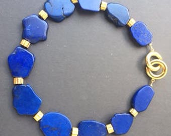 Blue stone slabs with Gold washed Barrels with Circle Clasp