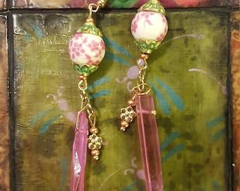 Pink crystal shard earrings