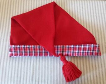 """Red Wool Cap, Handstitched. 19th Century, Civil War, Victorian. Size 22""""-23"""""""