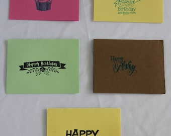 Handmade 'Happy Birthday' Greeting Cards (set of 5 with envelopes)