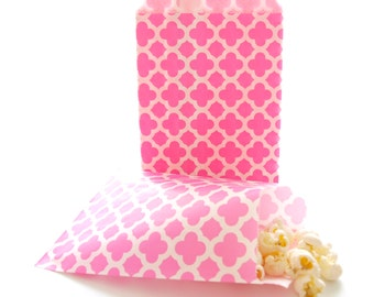 Hot Pink Spanish Tile Paper Bags (25 Pack) - Girl Birthday Party Bags, Bachelorette Gift Bags, Wedding Favor Bags