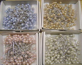 Pearl Pins SHARP Craft Pins - White, Blush Pink, Ice Blue or Beige