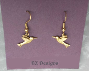 Bird Earrings -  Bird watcher earrings - Hummingbird