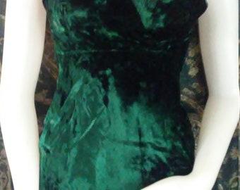 Circa 1975 Vintage Dark Hunter Green Gown/  Size 3/4