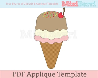 Ice Cream Fabric Applique Template PDF