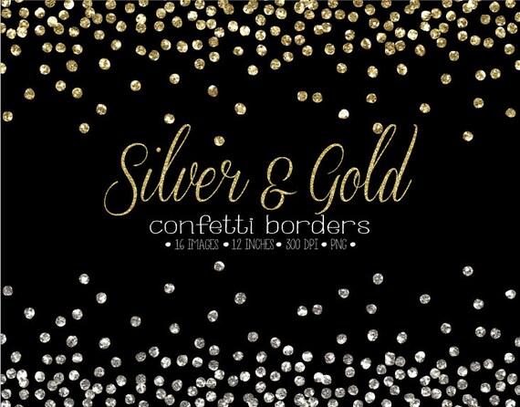 Glitter Confetti Border Clipart. Gold & Silver Confetti Frames ...