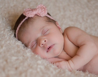 Newborn Headband / Baby Headband with Bow / Crochet Newborn Girls Headband / Newborn Headband Bow / Newborn Headband is Ready to Ship / RTS