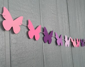 Butterfly Garland - Butterfly Birthday Banner - Butterfly Shower - Butterfly Party Decor - Butterfly Bunting Banner - Pink & Purple Banner
