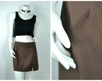 90s club kid brown iridescent snake print mini skirt M medium