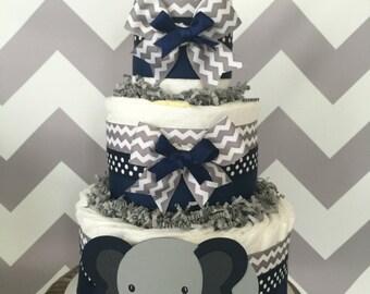 Chevron Elephant Diaper Cake in Navy and Gray Chevron