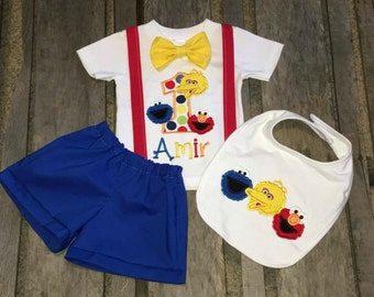 Boys 1st Birthday Outfit Sesame Street Inspired