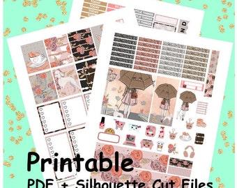 Romantic Autumn Printable Planner Stickers, Weekly Kit, Weekly Planner Stickers, Printable Weekly Kit, Fall, Autumn Weekly Kit,