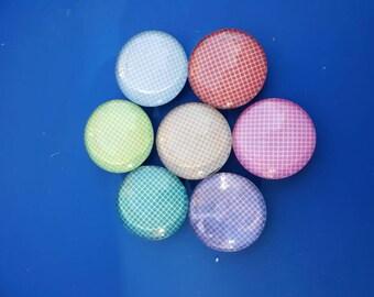 Glass Dome Cabochon Magnets, Refrigerator Magnet, Fridge Magnets- Set of Seven