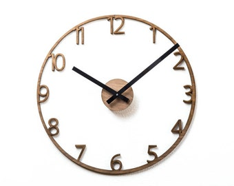 "Unique Naked Wood Wall Clock.  Cutout walnut clock, modern mid-century style.  15"" diameter."