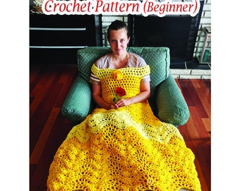 Princess Dress Blanket, Crochet pattern, US and UK Beginner. Printable download
