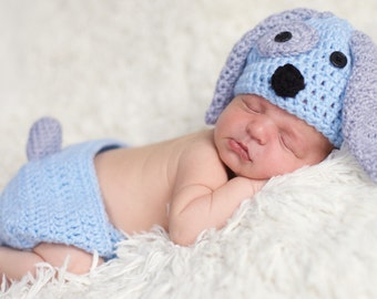 Newborn puppy hat, baby boy puppy hat, crochet puppy hat, photo prop, baby boys cloths, baby boy coming home outfit, newborn boy hat, blue