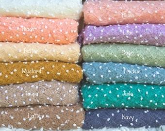 Newborn Popcorn Stretch Wrap  * Popcorn Knit * Textured Wrap *  Photo Prop * White Dot Newborn Wrap *