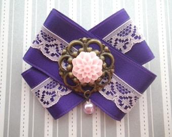 Dahlia violet - loop brooch