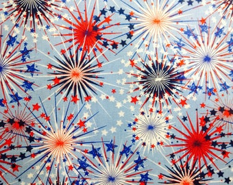 SALE - One YARD of Fabric Material - Patriotic Fireworks