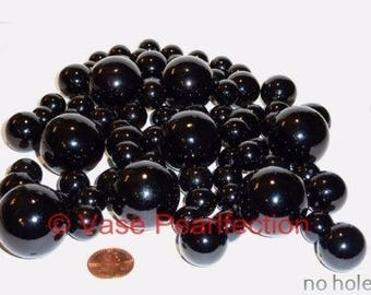 No Hole 80 All Black Pearls - Jumbo/Assorted Sizes Vase Fillers for Centerpieces