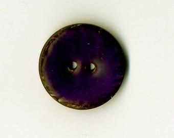 22 mm Eggplant Purple lacquered coconut button