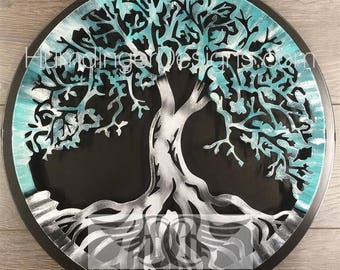 Tree of Life Wall Decor Wall Art Teal Silver Sparkle