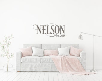 Personalized Family Name Signs // Name Wall Decal // Established Date // Last Name Decal //  Family Name Decal //  Custom Decal