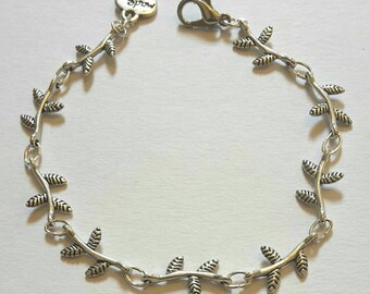 Sweet dainty leaf and twig charm link bracelet  - silver plated
