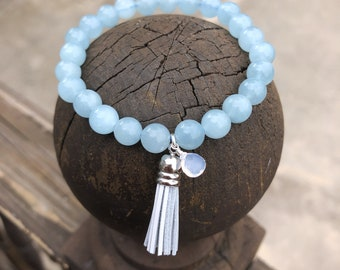Aquamarine Power Bracelet, Mala Bracelet, 8mm Beads, 7 inch bracelet, Tassel Bracelet, Elastic Beaded Bracelet, March birthstone bracelet