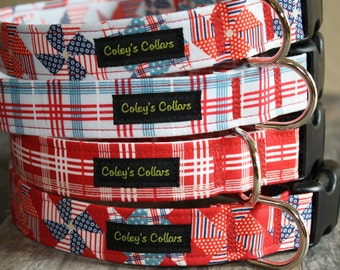 """Patriotic Dog Collar """"The Pinwheels and Plaids"""" Red White and Blue Dog Collars"""