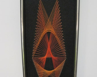 "Geometric STRING Art, Orange, Black Felt Backing, 19"" x 10"" x 1.5"",  Wall Hanging, Framed, Dated 1975, Vintage"