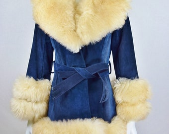 Reserved for Dee - Vintage 1970's Women's Huge Shearling Lamb Trim Blue Suede Princess Almost Famous Shaggy Boho Hippie Coat