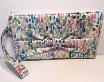 Watercolor Wristlet Bridal Clutch Bow Clutch in Pastels Bridesmaids Gift Bridal Gift Easter Gift Graduation Gift Mother's Day