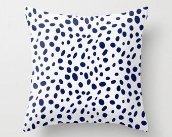 Dalmation Pillow Cover Navy Pillow Animal Print Pillow Throw Pillow Accent Pillow Size Choice