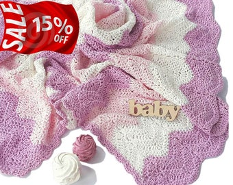 Hand Knit Baby Blanket for girl